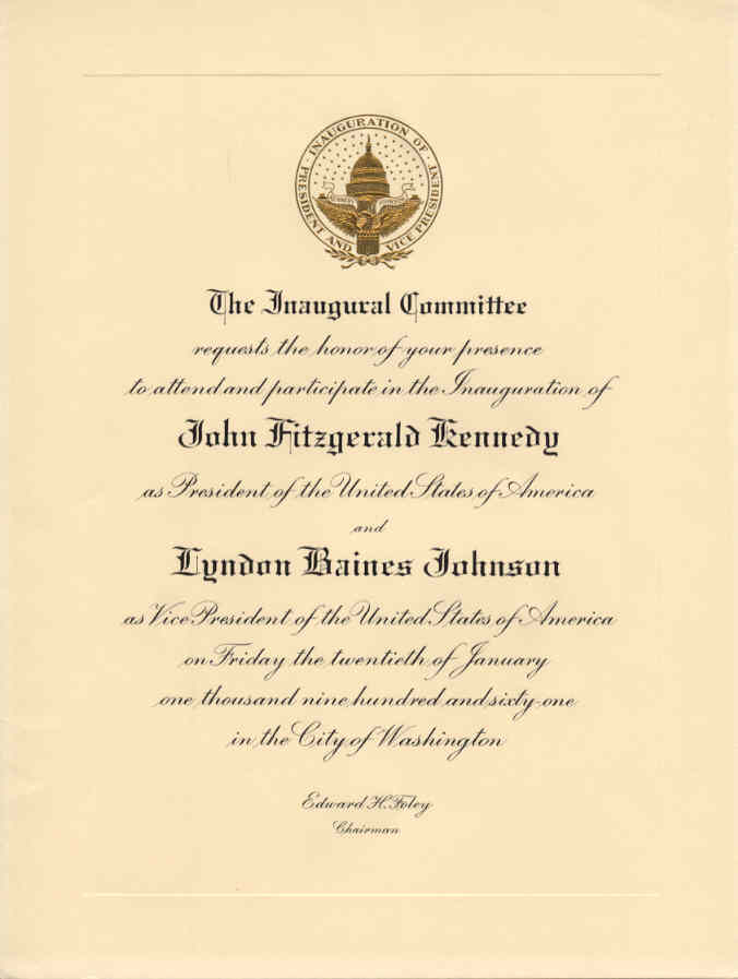 Presidential ephemera 11967g 37102 bytes invitation to john f kennedys inauguration stopboris Images